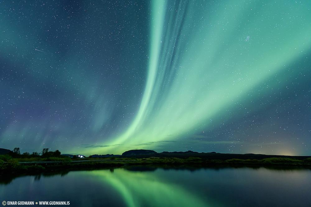 Northern lights (aurora) in Thingvellir.