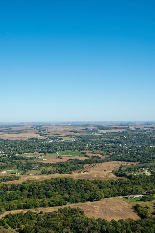 Aerial photograph of Glenwood, Mills County, Iowa, USA.