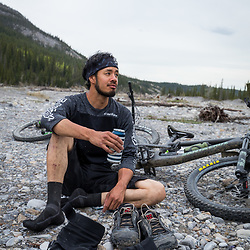 Mountain Biking Black Rock Mountain in the Ghost River Wilderness, Alberta, Canada