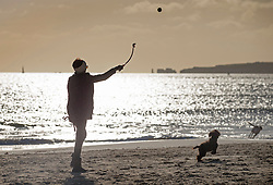 © Licensed to London News Pictures. 28/01/2016. Sandbanks, UK. A dog walker throws a ball in the sunshine at Sandbanks in Dorset. Parts of the UK are enjoying a spell of sunshine after days of storms. Photo credit: Peter Macdiarmid/LNP