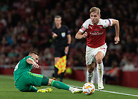 Football - 2018 / 2019 UEFA Europa League - Group E: Arsenal vs. Vorskla Poltava<br /> <br /> Emile Smith Rowe (Arsenal FC) leaves the FC Vorskla Poltava defence on the floor at The Emirates.<br /> <br /> COLORSPORT/DANIEL BEARHAM