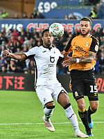 Football - 2019 / 2020 EFL Carabao (League) Cup - Second Round: Swansea City vs. Cambridge United<br /> <br /> Wayne Routledge of Swansea City & Louis John of Cambridge United  , at Liberty Stadium.<br /> <br /> COLORSPORT/WINSTON BYNORTH