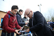 Brian McDermott, the Reading manager signing autographs as he arrives at Madejski Stadium before k/o. Skybet football league championship match, Reading  v Blackburn Rovers at The Madejski Stadium  in Reading, Berkshire on Sunday 20th December 2015.<br /> pic by John Patrick Fletcher, Andrew Orchard sports photography.