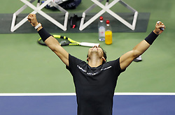 NEW YORK, Sept. 11, 2017  Rafael Nadal of Spain celebrates after defeating Kevin Anderson of South Africa during the men's singles final match at the 2017 US Open in New York, the United States, Sept. 10, 2017. Rafael Nadal won 3-0 to claim the title. (Credit Image: © Qin Lang/Xinhua via ZUMA Wire)