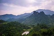 Mountainous landscape along the road (QL 32) between Nghia Lo and Mu Cang Chai, Vietnam, Southeast Asia