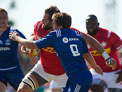 June 16, 2018 - Ottawa, ON, U.S. - OTTAWA, ON - JUNE 16: Luke Campbell of Canada tries to blast through Anton Rudoi of Russia in the Canada versus Russia international Rugby Union action on June 16, 2018, at Twin Elms Rugby Park in Ottawa, Canada. Russia won the game 43-20. (Photo by Sean Burges/Icon Sportswire) (Credit Image: © Sean Burges/Icon SMI via ZUMA Press)