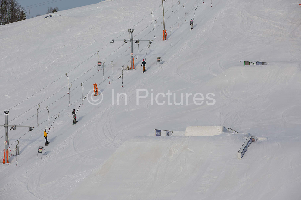 Zagarkalns ski resort on the 14th February 2019 in Zagarkalns in Latvia. Zagarkalns is a small ski resort in the north eastern region of Latvia. It is close to the historic town of Cesis.