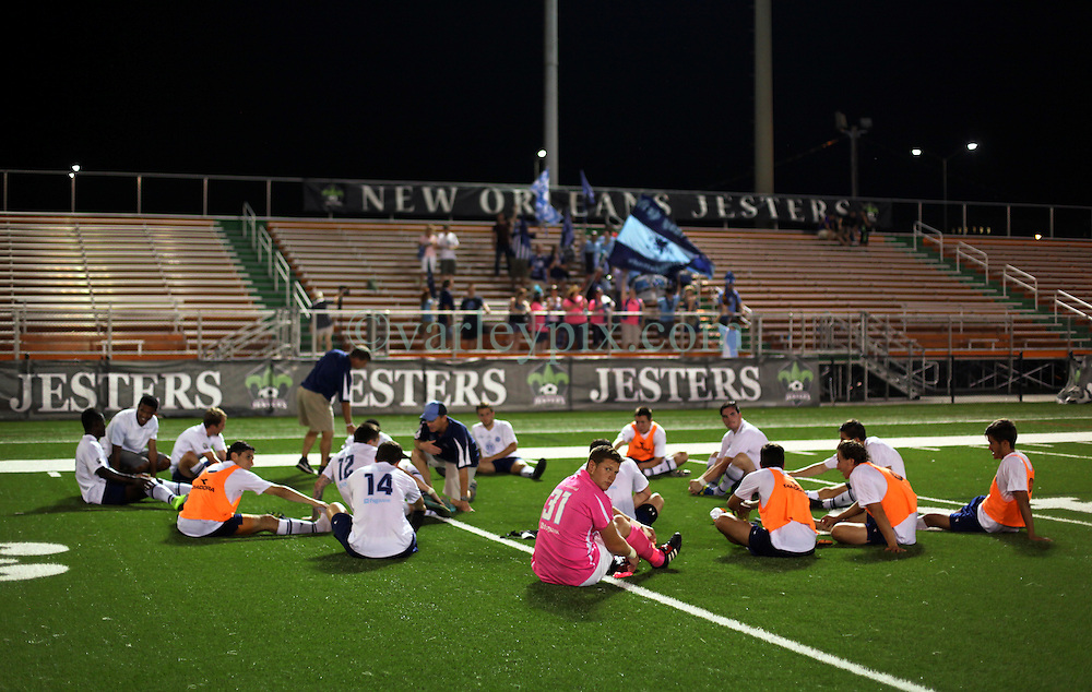 06 June 2015. New Orleans, Louisiana.<br /> National Premier Soccer League. NPSL. <br /> Chattanooga FC stretch out after the game. The New Orleans Jesters lost 0-4 to Chattanooga FC in a Conference game at home in the Pan American Stadium. <br /> Photo; Charlie Varley/varleypix.com