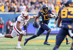 Nov 9, 2019; Morgantown, WV, USA; West Virginia Mountaineers wide receiver Sam James (13) runs after a catch during the first quarter against the Texas Tech Red Raiders at Mountaineer Field at Milan Puskar Stadium. Mandatory Credit: Ben Queen-USA TODAY Sports