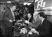 Garret Fitzgerald Stands Down As Fine Gael Leader.(R52)..1987..11.03.1987..03.11.1987..11th March 1987..After the loss at the recent general election Dr Garret Fitzgerald took the decision to resign as leader of the Fine Gael Party...Dr Fitzpatrick accepts a gift from the audience after his statement on his decision to resign as leader of The Fine Gael Party.