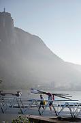 "Rio de Janeiro. BRAZIL.  GBR W8+, returning from there trainig session.2016 Olympic Rowing Regatta. Lagoa Stadium,<br /> Copacabana,  ""Olympic Summer Games""<br /> Rodrigo de Freitas Lagoon, Lagoa.   Saturday 13/08/2016 <br /> <br /> [Mandatory Credit; Peter SPURRIER/Intersport Images]"