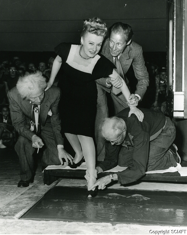 1946 Irene Dunne's hand/footprint ceremony at the Chinese Theater