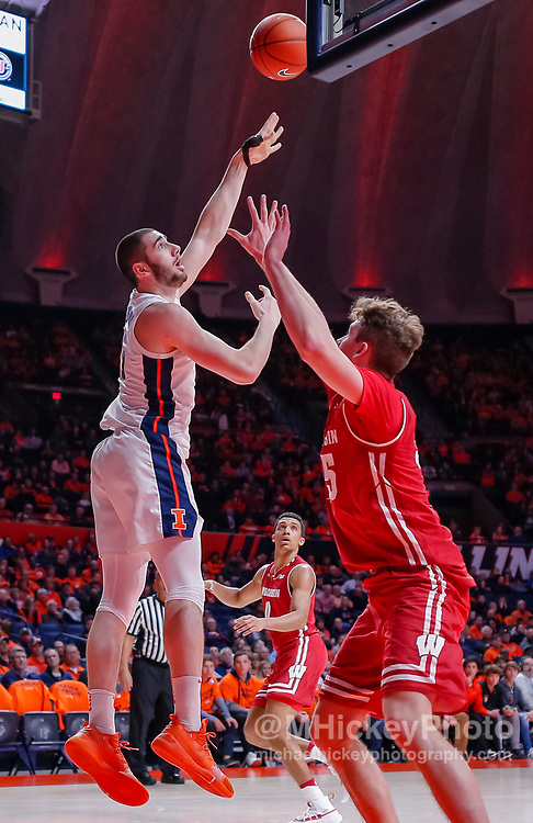 CHAMPAIGN, IL - JANUARY 23: Giorgi Bezhanishvili #15 of the Illinois Fighting Illini shoots the ball during the game against the Wisconsin Badgers at State Farm Center on January 23, 2019 in Champaign, Illinois. (Photo by Michael Hickey/Getty Images) *** Local Caption *** Giorgi Bezhanishvili
