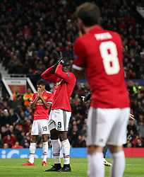 Manchester United's Marcus Rashford (left), Romelu Lukaku (centre) and Jaun Mata stand dejected after a missed chance during the UEFA Champions League match at Old Trafford, Manchester.