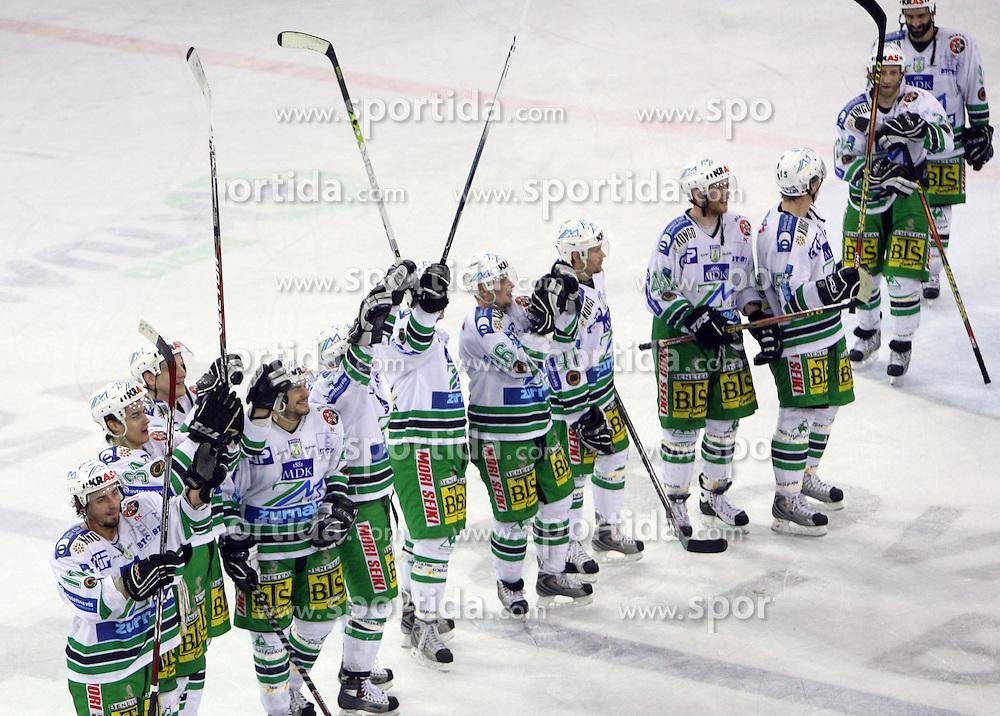 Players of Olimpija celebrating the victory after the ice hockey match ZM Olimpija vs Liwest Linz in sixth round of semi-final of Ebel League (Erste Bank Eishockey Liga),  on March  9, 2008 in Arena Tivoli, Ljubljana, Slovenia. Win of ZM Olimpija 2:0, ZM Olimpija qualified in finals. (Photo by Vid Ponikvar / Sportal Images)