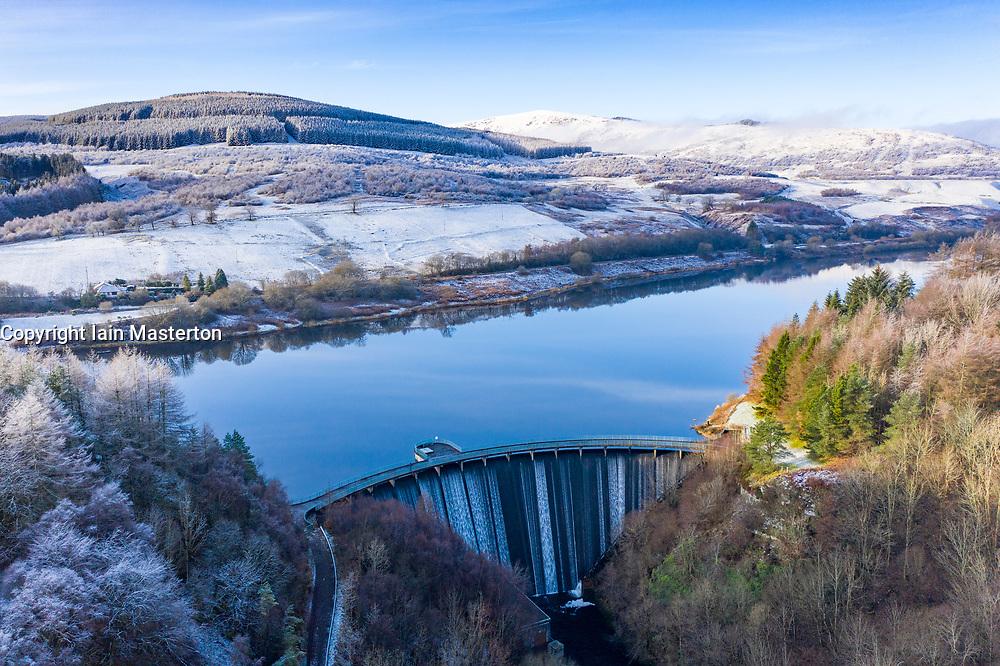 View of Castlehill Dam reservoir and spillway at Glen Devon, Scotland, UK