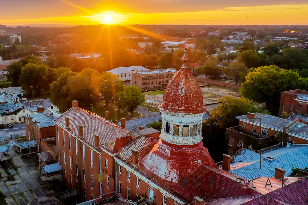Aerial drone photo of sunrise over the cupola of the Babcock Building in the BullStreet facility in Columbia, SC. Photo © Jeff Blake Photo