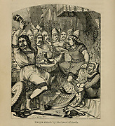 SWEYN STRUCK BY THE HAND OF DEATH [Sweyn Forkbeard (960–1014), King of Denmark, England, and Norway as Sweyn I] From the Book 'Danes, Saxons and Normans : or, Stories of our ancestors' by Edgar, J. G. (John George), 1834-1864 Published in London in 1863