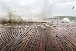 December 16, 2018 - Odesa, Ukraine - The waves hit the wooden boards of the embankment as the storm rages in the Black Sea, Odesa, southern Ukraine, December 16, 2018. Ukrinform. (Credit Image: © Nina Liashonok/Ukrinform via ZUMA Wire)