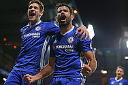 Diego Costa of Chelsea ® celebrates after scoring his sides 4th goal with Marco Alonso of Chelsea. Premier league match, Chelsea v Stoke city at Stamford Bridge in London on Saturday 31st December 2016.<br /> pic by John Patrick Fletcher, Andrew Orchard sports photography.