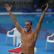 TOKYO, JAPAN - JULY 29:  Gregorio Paltrinieri of Italy celebrates his silver medal in the 800m freestyle final for men during the Swimming Finals at the Tokyo Aquatic Centre at the Tokyo 2020 Summer Olympic Games on July 29, 2021 in Tokyo, Japan. (Photo by Tim Clayton/Corbis via Getty Images)