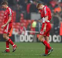 Photo: Paul Thomas.<br /> Liverpool v Everton. The Barclays Premiership. 03/02/2007.<br /> <br /> John Arne Riise of Liverpool walks off dejected.