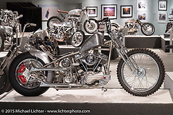 """Jeff Cochran's '64 HD panhead custom in Michael Lichter's annual Motorcycles as Art Show """"Naked Truth"""" at the Buffalo Chip during the 75th Annual Sturgis Black Hills Motorcycle Rally.  SD, USA.  August 6, 2015.  Photography ©2015 Michael Lichter."""
