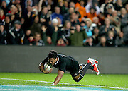 Julian Savea of the All Blacks scores his third try during the third rugby test between the All Blacks and England played at Waikato Stadium in Hamilton during the Steinlager Series - All Blacks v England, Hamiton, 21 June 2014<br /> www.photosport.co.nz