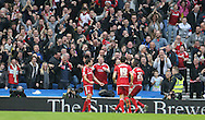 Middlesbrough FC striker Christian Stuani scores to make it 3-0  during the Sky Bet Championship match between Brighton and Hove Albion and Middlesbrough at the American Express Community Stadium, Brighton and Hove, England on 19 December 2015.