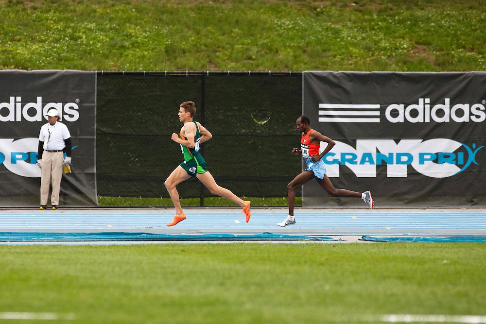 adidas Grand Prix Diamond League professional track & field meet: mens 5000 meters, Ben True, USA leads Jeilan