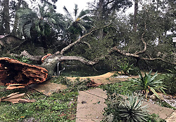 A huge tree knocked down by Hurricane Irma winds Sunday night covers a backyard pool in the Woodlands subdivision of Longwood, Fla. on Monday, September 11, 2017. Photo by Orlando Sentinel/TNS/ABACAPRESS.COM