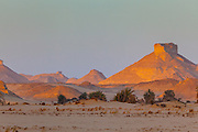 Monoliths (inselbergs) of the White Desert at sunset, Egypt