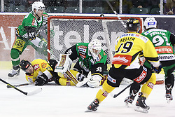 11.01.2013, Hala Tivoli, Ljubljana, SLO, EBEL, HDD Olimpija Ljubljana vs UPC Vienna Capitals, 40. Runde, im Bild Markus Schaler (UPC Vienna Capitals, #23) vs Jerry Kuhn (HDD Olimpija, #35) // during the Erste Bank Icehockey League 40th Round match between HDD Telemach Olimpija Ljubljana and UPC Vienna Capitals at the Hala Tivoli, Ljubljana, Slovenia on 2013/01/11. EXPA Pictures © 2013, PhotoCredit: EXPA/ Sportida/ Matic Klansek Velej..***** ATTENTION - OUT OF SLO *****