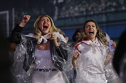 © Licensed to London News Pictures. 11/07/2021. London, UK. England supporters react to a penalty shootout at the EURO 2020 final between Italy and England as they watch the giant screens in Tragalgar Square, central London. Photo credit: Peter Macdiarmid/LNP