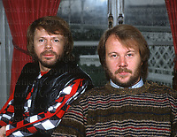 The male members of the Swedish pop group Abba, Benny Andersson and Bjorn Ulvaeus seen at the Dorchester hotel, London during a visit to London in 1982. Photographed BY Jayne Fincher