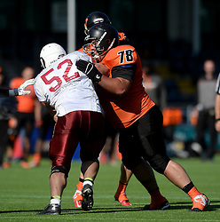 Netherlands and Russia players clash during IFAF European Championship held at the Sixways Stadium  - Photo mandatory by-line: Dougie Allward/JMP - 18/09/2016 - American Football - Sixways Stadium - Worcester, England - Netherlands v Russia - IFAF European Championship