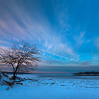 The sun's last light paints the sky over Oyster Bay, on a particularly frigid evening on Long Island.