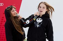 Aleksandra Vovk and Ana Skumvac of Glasbeni studio Osminka singing JE VEUX during the Men's Slalom - Pokal Vitranc 2012 of FIS Alpine Ski World Cup 2011/2012, on March 11, 2012 in Vitranc, Kranjska Gora, Slovenia.  (Photo By Vid Ponikvar / Sportida.com)