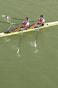 Seville, Andalusia, SPAIN<br /> <br /> 2002 World Rowing Championships - Seville - Spain Sunday 15/09/2002.<br /> <br /> Rio Guadalquiver Rowing course<br /> <br /> CUB M2X  Bow. Yosbel MARTINEZ HECHEVARRIA, and Yoennis HERNANDEZ ARRUEZ, <br /> <br /> [Mandatory Credit:Peter SPURRIER/Intersport Images]