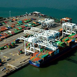 aerial view of the container ship at port of oakland, california