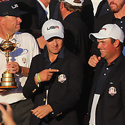 Ryder Cup 2016. Day Three. Jordan Spieth, Patrick Reed and the United States team celebrate their  Ryder Cup win after the United States victory over Europe in the Ryder Cup tournament at Hazeltine National Golf Club on October 02, 2016 in Chaska, Minnesota.  (Photo by Tim Clayton/Corbis via Getty Images)