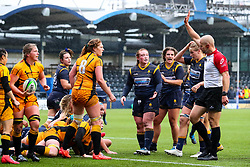 Laura Keates of Worcester Warriors Women appeals to the referee for a try, which is awarded - Mandatory by-line: Nick Browning/JMP - 24/10/2020 - RUGBY - Sixways Stadium - Worcester, England - Worcester Warriors Women v Wasps FC Ladies - Allianz Premier 15s