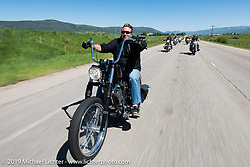 Kona Ward of Steamboat Springs, CO and owner of a roofing company on his 2014 evo chopper riding the 20 Mile Road in Steamboat Springs during the Rocky Mountain Regional HOG Rally, Colorado, USA. Saturday June 10, 2017. Photography ©2017 Michael Lichter.