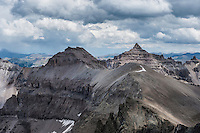 View from near Lavender Col towards Cirque mt. and Teakettle mt. from southeast couloir on Mt. Sneffels (14150 ft), San Juan mountains, Colorado, USA