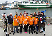 02/07/2017 REPRO FREE: <br /> Young sailors from Safe Haven Ireland  at SeaFest in Galway on the eve of their next sail training voyage onwards to Limerick. Safe Haven Ireland is a not-for-profit organisation providing integration opportunities in Ireland and sailing for all. John Killeen Chair of Seafest, Brian O'Loughlin Youth leader, Victor Spingbok Watch leader, Shauna Gillan CEO Safe Haven Ireland,  and Dr. Peter Heffernan CEO Marine Institute . Photo:Andrew Downes, xposure .