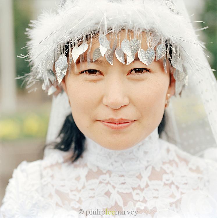 A bride in Almaty, Kazakhstan