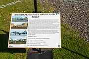 British Aerospace Harrier GR.3 ZD667 fighter plane, Bentwaters Cold War museum, Suffolk, England, UK information board