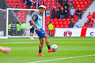 Lyle Taylor of Charlton Athletic (9) warming up during the EFL Sky Bet League 1 play off first leg match between Doncaster Rovers and Charlton Athletic at the Keepmoat Stadium, Doncaster, England on 12 May 2019.