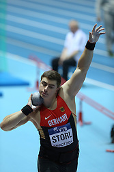 07.03.2014, Ergo Arena, Sopot, POL, IAAF, Leichtathletik Indoor WM, Sopot 2014, Tag 1, im Bild David Storl (Germany) competite during the Shot Put qualifications // David Storl (Germany) competite during the Shot Put qualifications during day one of IAAF World Indoor Championships Sopot 2014 at the Ergo Arena in Sopot, Poland on 2014/03/07. EXPA Pictures © 2014, PhotoCredit: EXPA/ Newspix/ Michal Fludra<br /> <br /> *****ATTENTION - for AUT, SLO, CRO, SRB, BIH, MAZ, TUR, SUI, SWE only*****