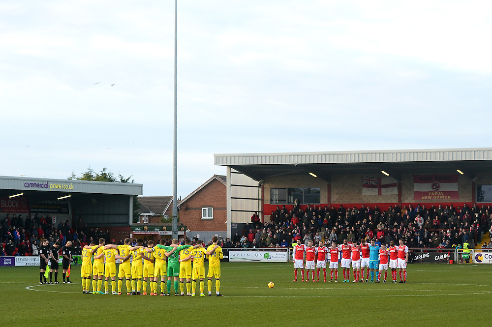 The Fleetwood and Bristol Rovers players acknowledge a minutes silence for Graham Taylor and the Fleetwood fans who passed away in 2016 prior to the match<br /> <br /> Photographer Richard Martin-Roberts/CameraSport<br /> <br /> The EFL Sky Bet Championship - Fleetwood Town v Bristol Rovers - Saturday 14th January 2017 - Highbury Stadium - Fleetwood<br /> <br /> World Copyright © 2017 CameraSport. All rights reserved. 43 Linden Ave. Countesthorpe. Leicester. England. LE8 5PG - Tel: +44 (0) 116 277 4147 - admin@camerasport.com - www.camerasport.com